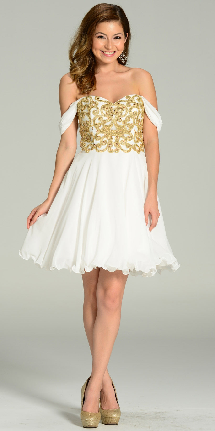 1084b8aee0f7 Short Chiffon Spanish Style Off The Shoulder Dress Ivory Gold. Tap to expand