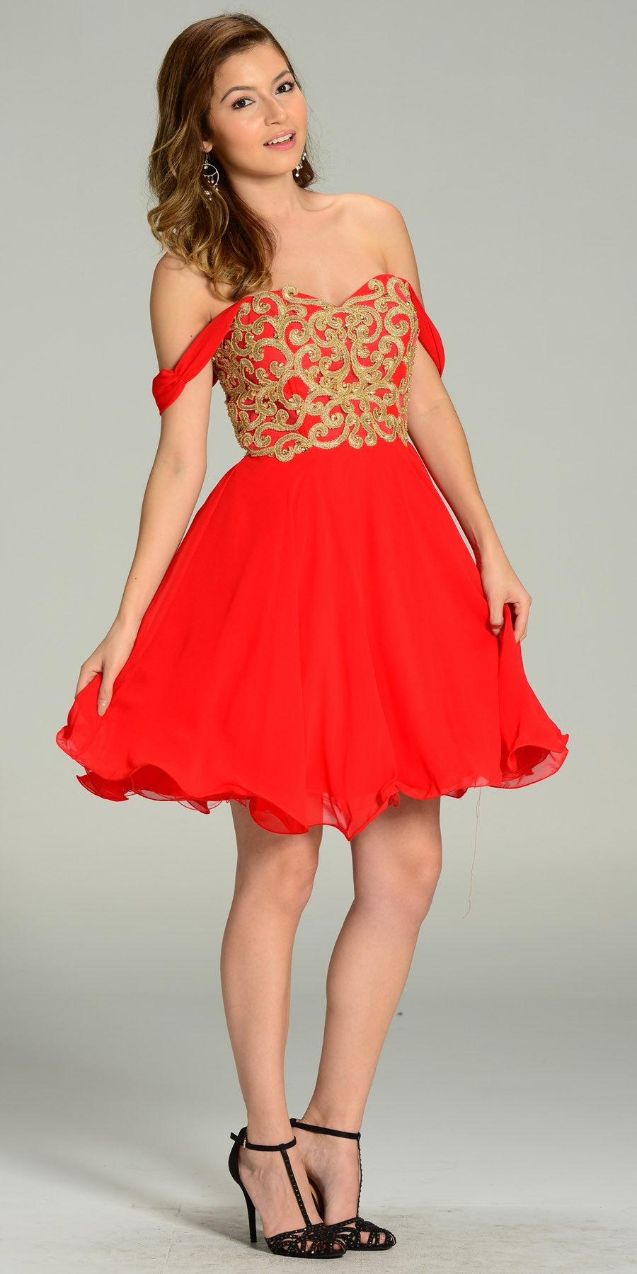 5ce3a460b660 Short Chiffon Spanish Style Off The Shoulder Dress Red Gold. Tap to expand