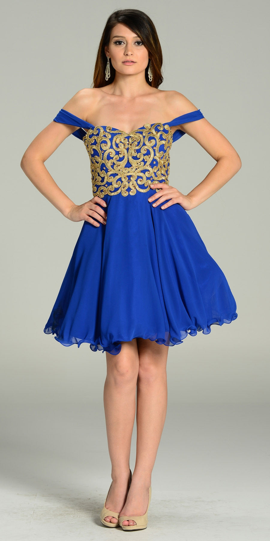 789351e6d5fc Short Chiffon Spanish Style Off The Shoulder Dress Royal Blue Gold. Tap to  expand