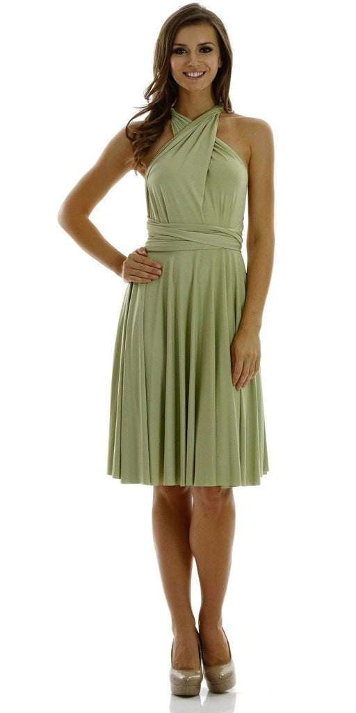 Poly USA 7020 Short Convertible Jersey Dress Green 20 Different Looks