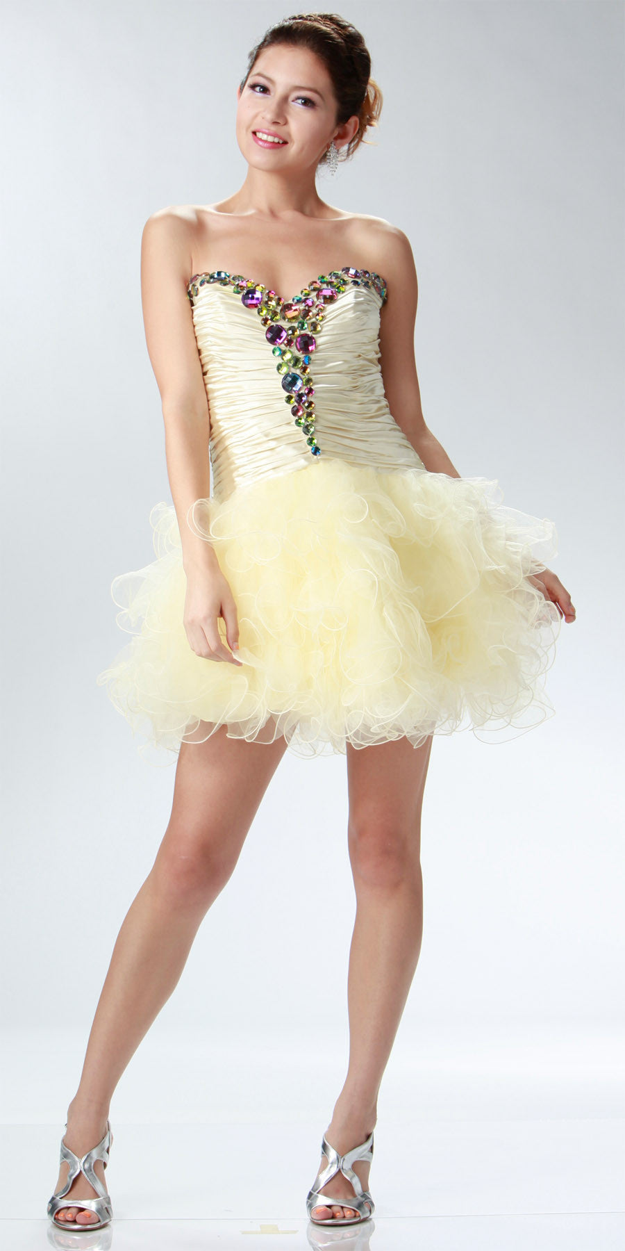 ON SPECIAL LIMITED STOCK - Short Cream Winter Formal Dress Poofy Layer Skirt Ruffles Strapless