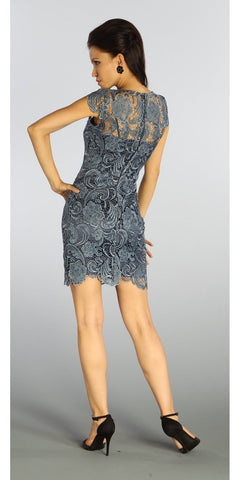 ON SPECIAL LIMITED STOCK - Short Lace Imperial Blue Cocktail Dress Cap Sleeves Illusion Neckline