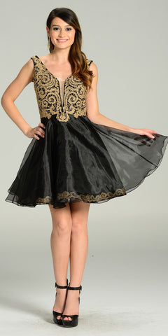 Short Organza A Line Black Gold Stone Dress V Neck Lace Applique