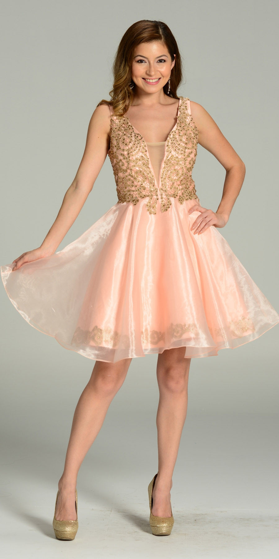 Short Organza A Line Blush Gold Stone Dress V Neck Lace Applique
