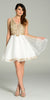 Short Organza A Line White Gold Stone Dress V Neck Lace Applique