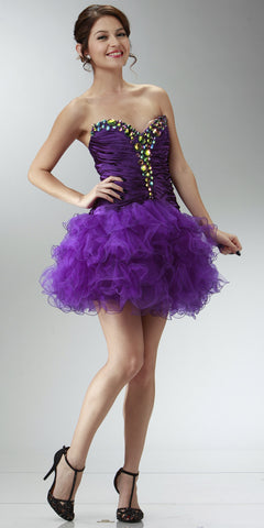 ON SPECIAL LIMITED STOCK - Short Purple Winter Formal Dress Poofy Layer Skirt Ruffles Strapless