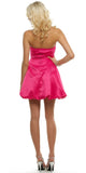 Short Satin Bubble Dress Fuchsia A Line Strapless Sweetheart