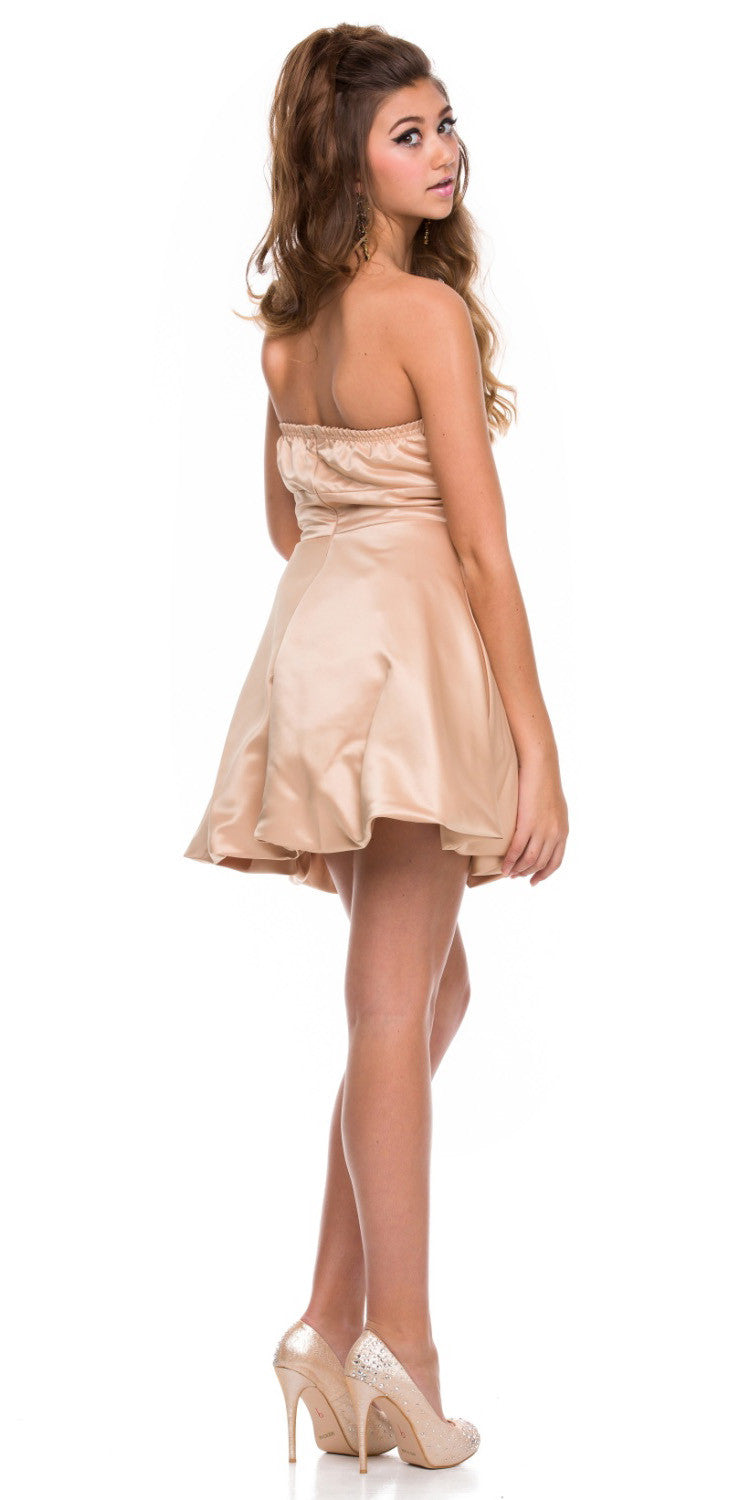 288542425e06ab ... Gold Short Satin Bubble Dress A Line Strapless Sweetheart Back View ...