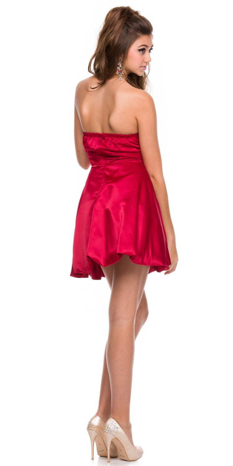 1a7c68145d2a31 ... Short Satin Bubble Dress Red Back View A Line Strapless Sweetheart ...