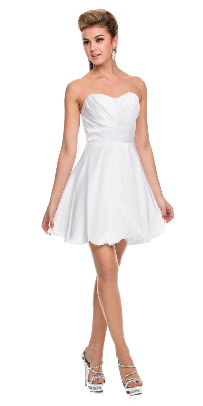 Short Satin Bubble Dress White A Line Strapless Sweetheart