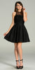 Short Skater A Line Dress Black Illusion Round Neck Lace Applique