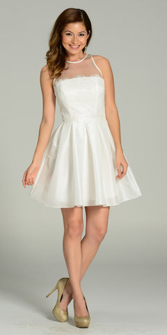 Short Skater A Line Dress Off White Illusion Round Neck Lace Applique
