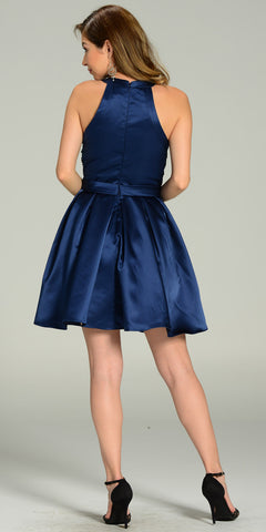 Short Skater Satin A Line Dress Navy Blue Beaded Bodice Round Neck
