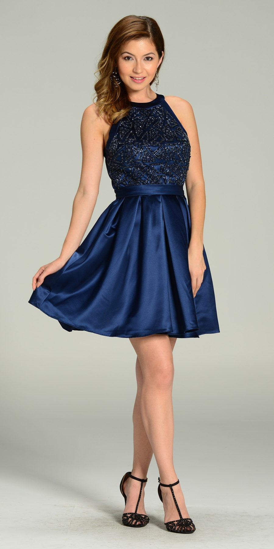 8222429db5 Short Skater Satin A Line Dress Navy Blue Beaded Bodice Round Neck. Tap to  expand