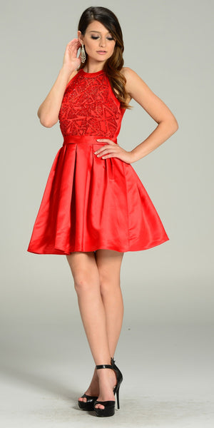 Short Skater Satin A Line Dress Red Beaded Bodice Round Neck