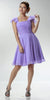 ON SPECIAL LIMITED STOCK - Short Sleeve Lavender Bridesmaid Dress Knee Length Square Neck