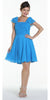 ON SPECIAL LIMITED STOCK - Short Sleeve Ocean Blue Bridesmaid Dress Knee Length Square Neck