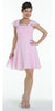 ON SPECIAL LIMITED STOCK - Short Sleeve Pink Bridesmaid Dress Knee Length Square Neck