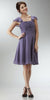 ON SPECIAL LIMITED STOCK - Short Sleeve Purple/Grey Bridesmaid Dress Knee Length Square Neck