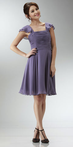 ON SPECIAL LIMITED STOCK - Short Sleeve Purple Grey Bridesmaid Dress Knee Length Square Neck