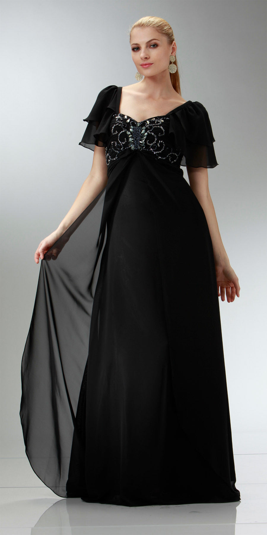 ON SPECIAL LIMITED STOCK - Short Sleeve Black Chiffon Dress Sweetheart Neck Beaded Empire