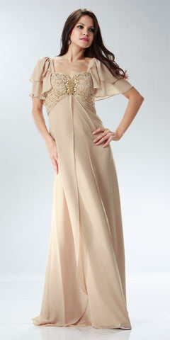 ON SPECIAL LIMITED STOCK - Short Sleeve Champagne Chiffon Dress Sweetheart Neck Beaded Empire