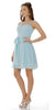 Short Sleeveless Chiffon Bridesmaid Dress Aqua Illusion Neck