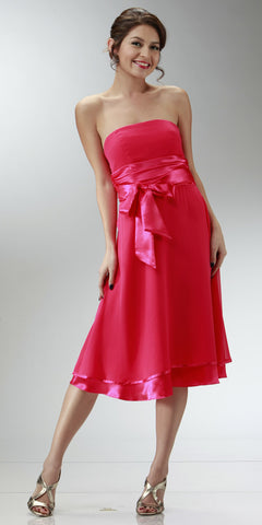 ON SPECIAL LIMITED STOCK - Short Strapless Hot Pink Empire Waist Bridesmaid Dress With Bow Knee Length