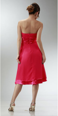 ON SPECIAL LIMITED STOCK - Short Strapless Hot Pink Bridesmaid Dress With Bow Knee Length