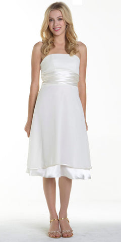 ON SPECIAL LIMITED STOCK - Short Strapless Ivory Empire Waist Bridesmaid Dress With Bow Knee Length