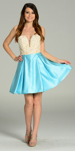 Short Strapless Satin A Line Dress Aqua V Neck Lace Applique