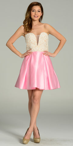 Short Strapless Satin A Line Dress Pink V Neck Lace Applique