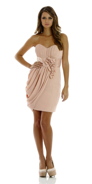 ON SPECIAL LIMITED STOCK - Short Strapless Sweetheart Neckline Dusty Pink Sheath Dress