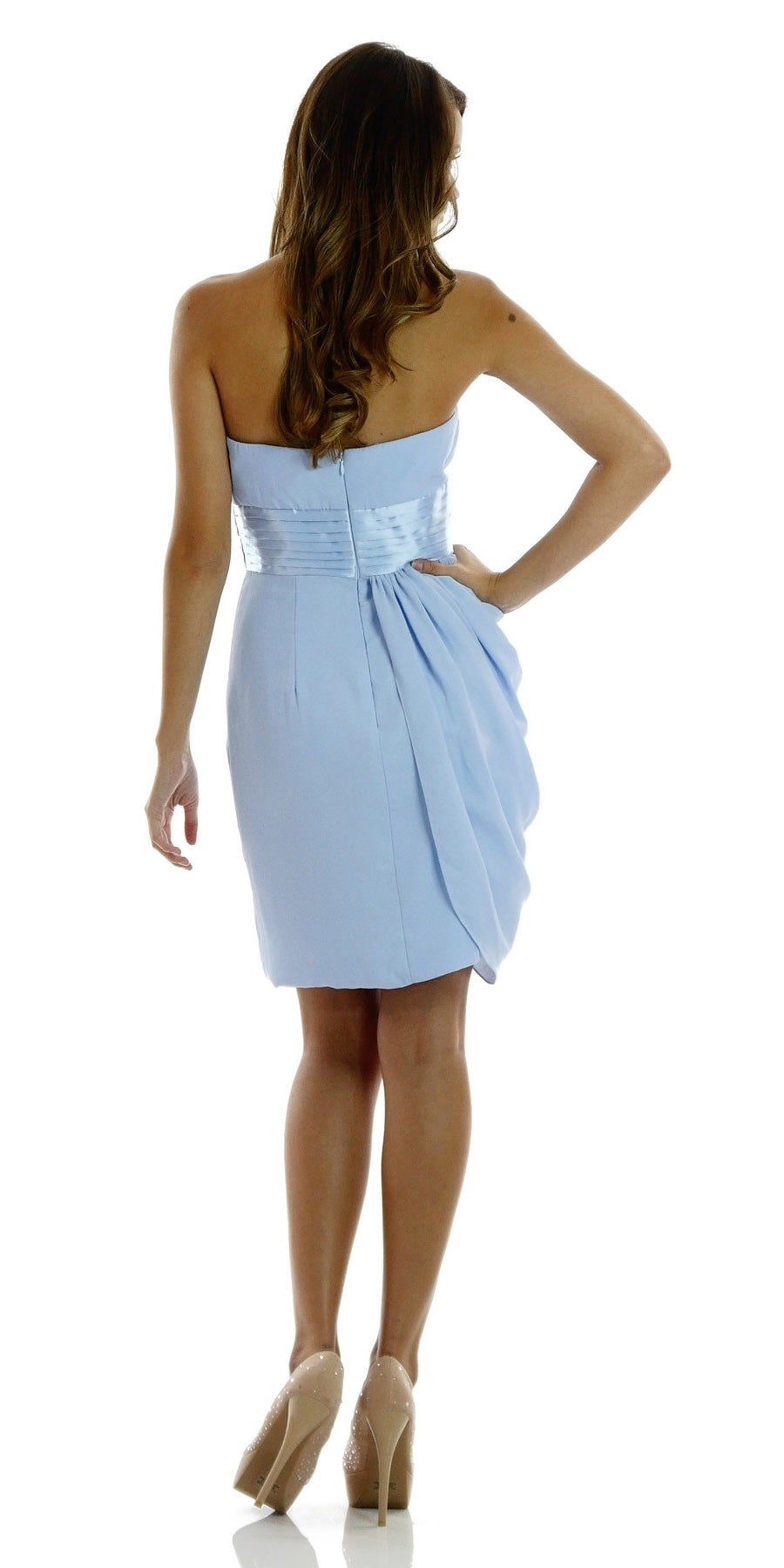 ON SPECIAL LIMITED STOCK - Short Strapless Sweetheart Neckline Ice Blue Sheath Dress