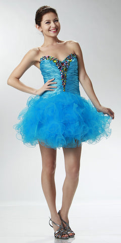 ON SPECIAL LIMITED STOCK - Short Turquoise Winter Formal Dress Poofy Layer Skirt Ruffles Strapless