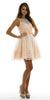 Sleeveless Bateau Neckline Flared Peach Lace Dress