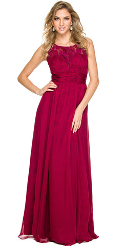 Sleeveless Chiffon Bridesmaid Dress Burgundy Long Lace Bodice