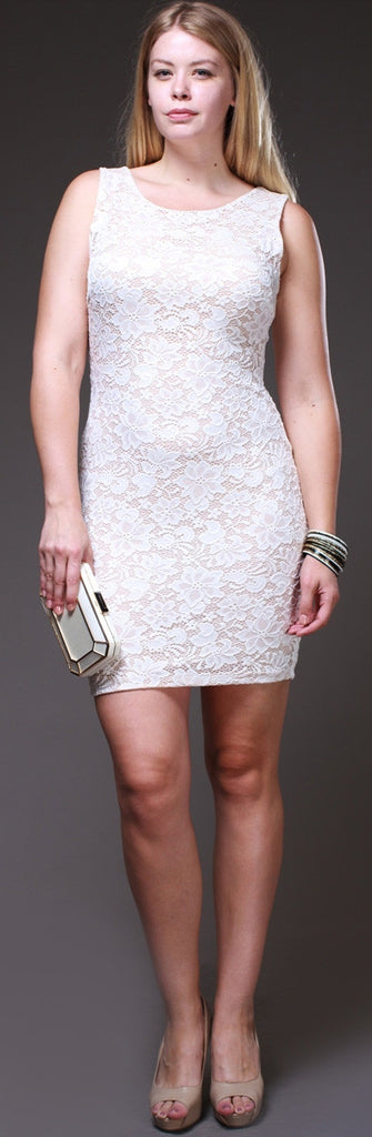 Sleeveless Short Lace Ivory Sheath Mini Dress Tank Straps