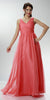 ON SPECIAL LIMITED STOCK - Sleeveless V Neck Coral Bridesmaid Gown A Line Long Chiffon