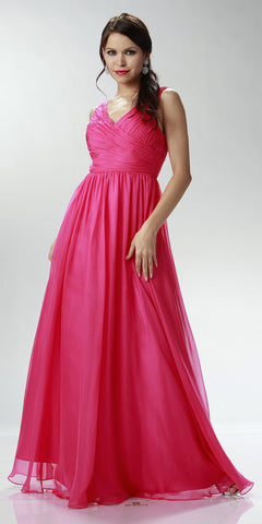 ON SPECIAL LIMITED STOCK - Sleeveless V Neck Fuchsia Bridesmaid Gown A Line Long Chiffon