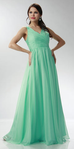 ON SPECIAL LIMITED STOCK - Sleeveless V Neck Mint Green Bridesmaid Gown A Line Long Chiffon