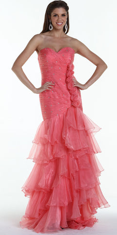 ON SPECIAL LIMITED STOCK - Special Occasion Formal Coral Dress Strapless Sweetheart Organza Form Fitting Corset Back