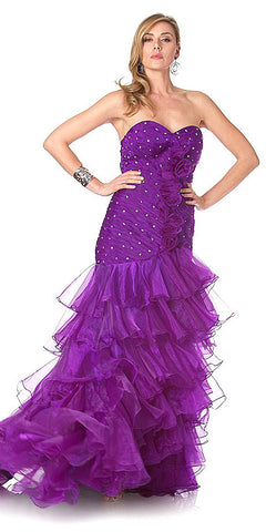 ON SPECIAL LIMITED STOCK - Special Occasion Formal Purple Dress Strapless Sweetheart Organza Form Fitting Corset Back
