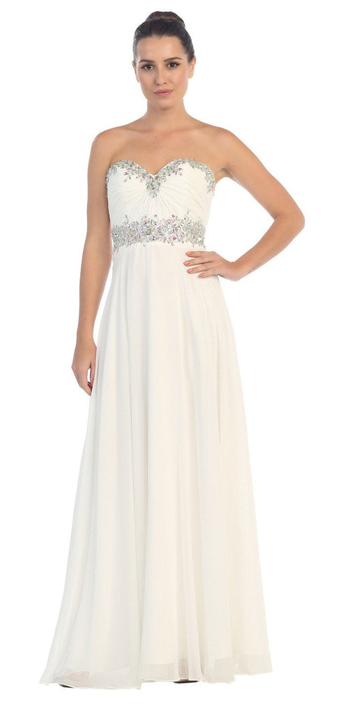 Starbox USA L6079 Jeweled Ruched Bodice Off White Strapless Chiffon A-Line Dress