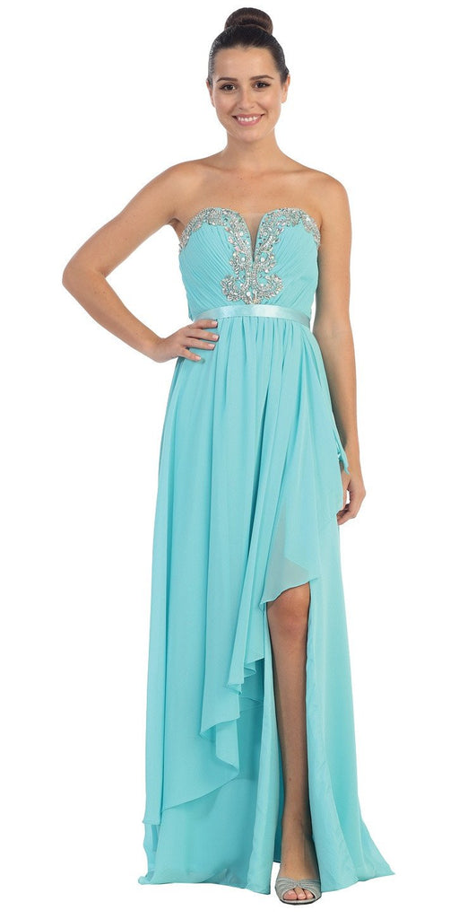 Starbox USA L6078 Studded Waterfall Draped Sweetheart Neck Chiffon Prom Dress Tiffany Blue