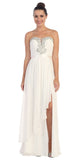 Starbox USA L6078 Studded Waterfall Draped Sweetheart Neck Chiffon Prom Dress White