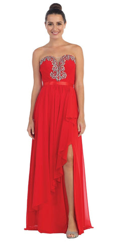 Starbox USA L6078 Studded Waterfall Draped Sweetheart Neck Chiffon Prom Dress Red
