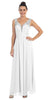 Starbox USA L6093 V-Neck Beaded Straps Ruched Off White Empire Waist Evening Gown