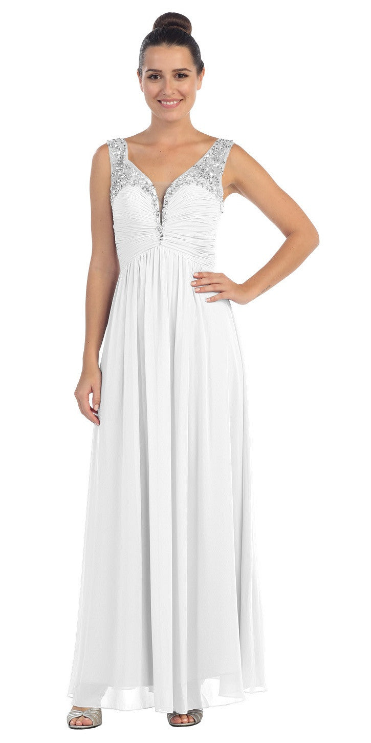 3dc399754b6a ... Starbox USA L6093 V-Neck Beaded Straps Ruched Off White Empire Waist  Evening Gown ...