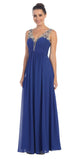 Starbox USA L6093 V-Neck Beaded Straps Ruched Royal Blue Empire Waist Evening Gown